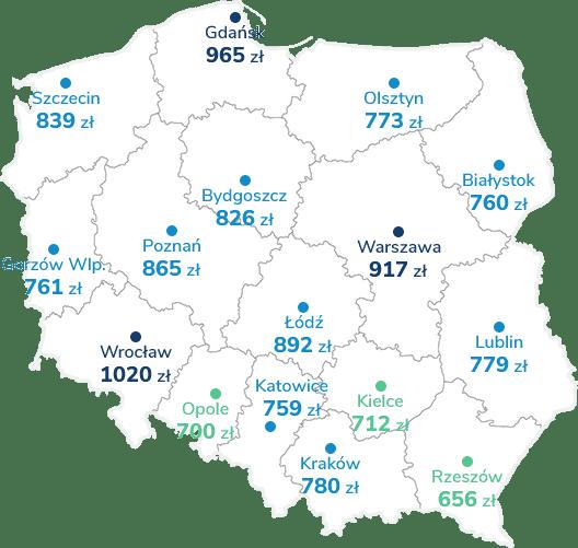Mapa Polski pokazująca średnie ceny OC w 2018 roku