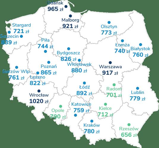 Mapa Polski pokazująca cenę ubezpieczenia OC w różnych miastach
