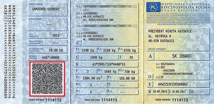 Przykładowy dowód rejestracyjny samochodu
