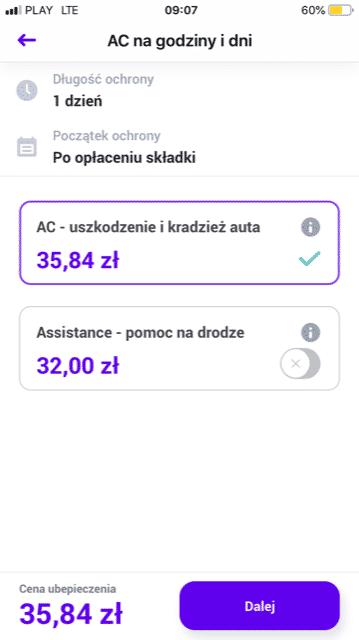 Cena w aplikacji Teraz by Aviva
